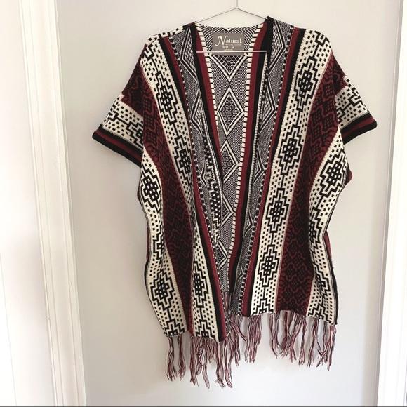 LIKE NEW | Southwestern Open Poncho Sweater